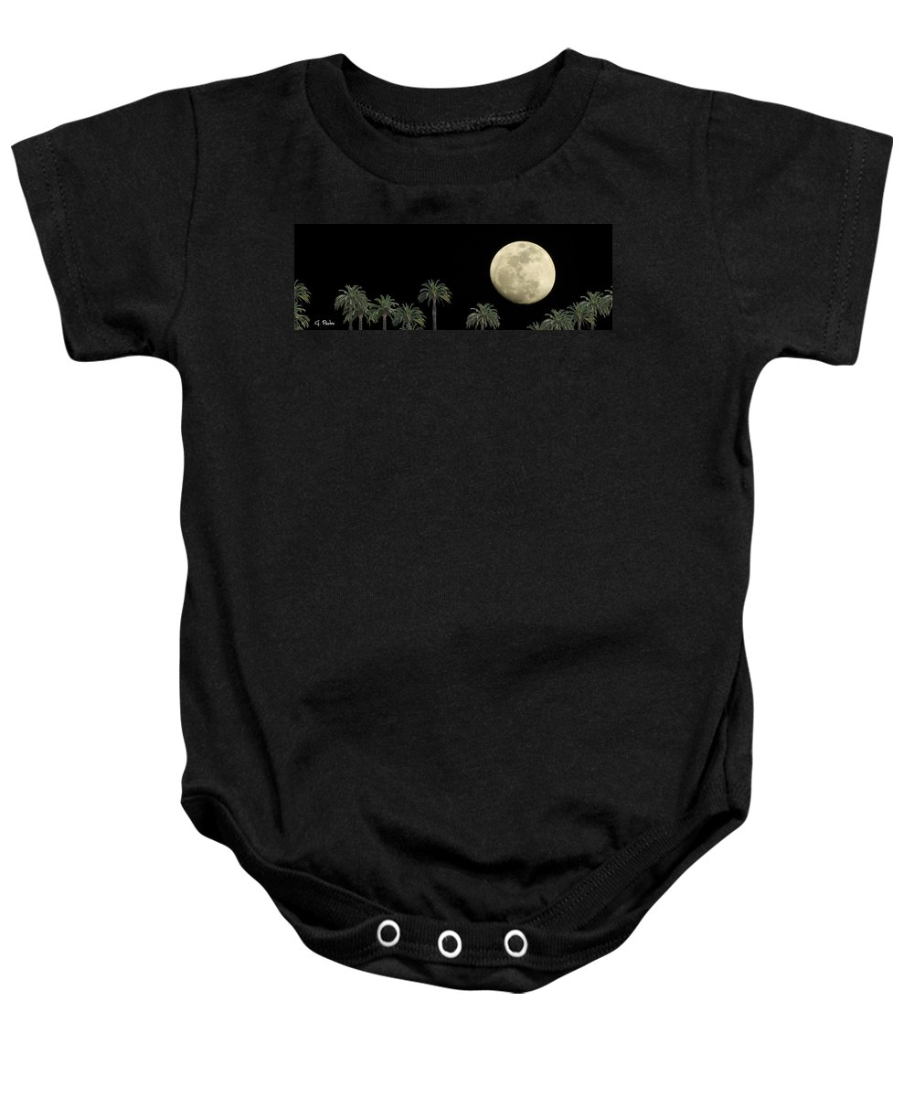 Palm Baby Onesie featuring the photograph Palm Moon by George Pedro