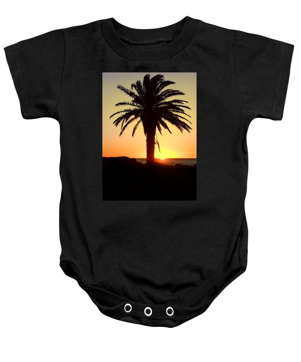 Background Baby Onesie featuring the photograph Palm Sunset by Paul Fell