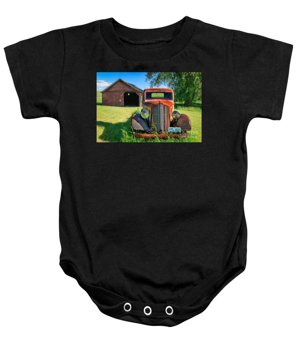 America Baby Onesie featuring the photograph Palouse Dodge by Inge Johnsson