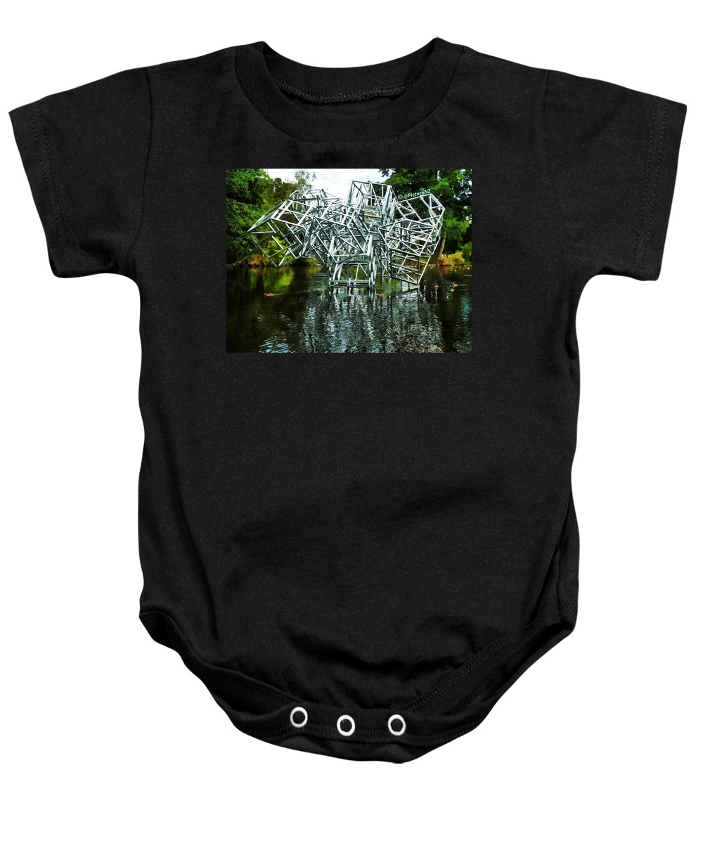 Kiosk Baby Onesie featuring the photograph Paneless by Steve Taylor