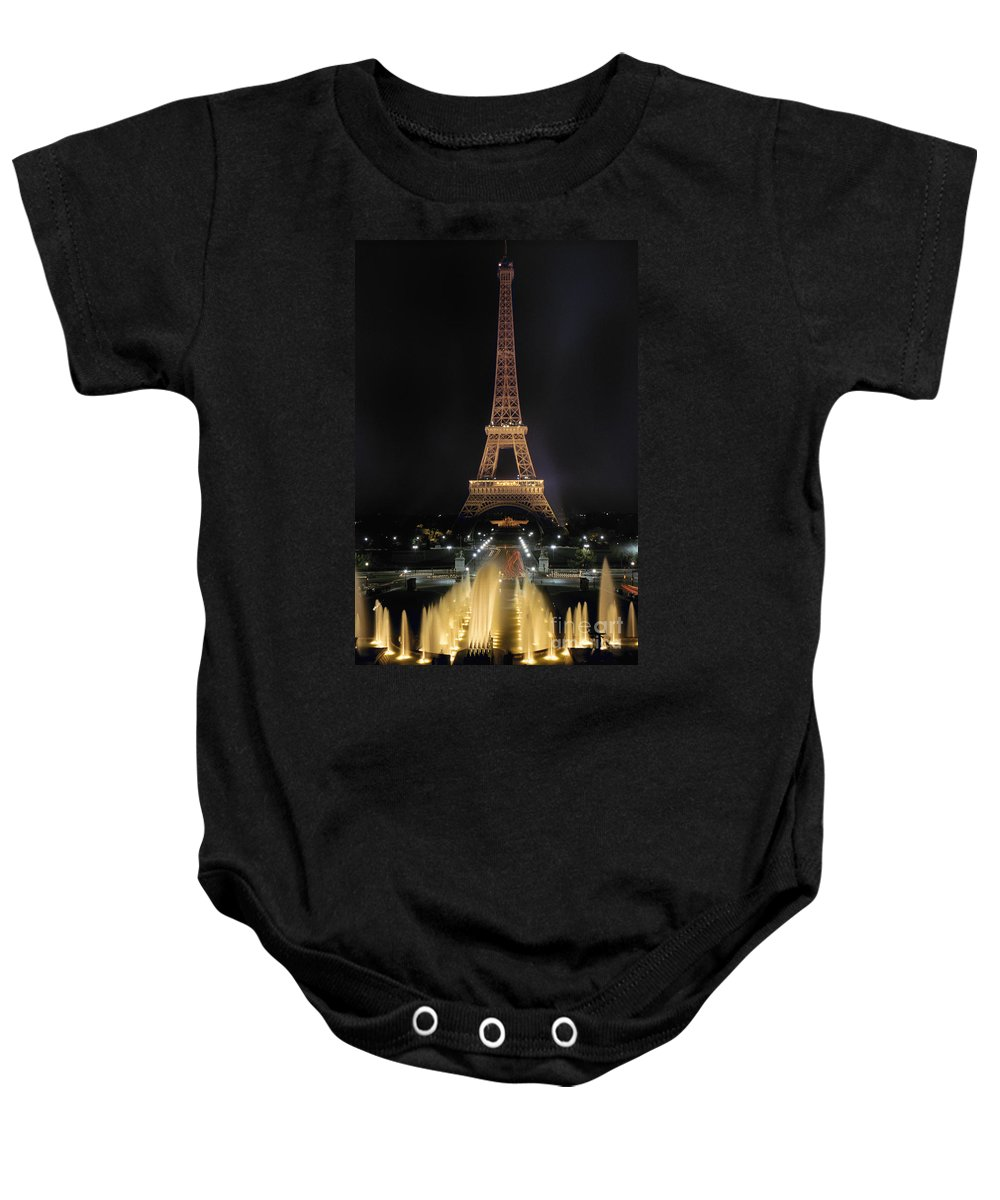 Architecture Baby Onesie featuring the photograph Paris: Eiffel Tower by Granger