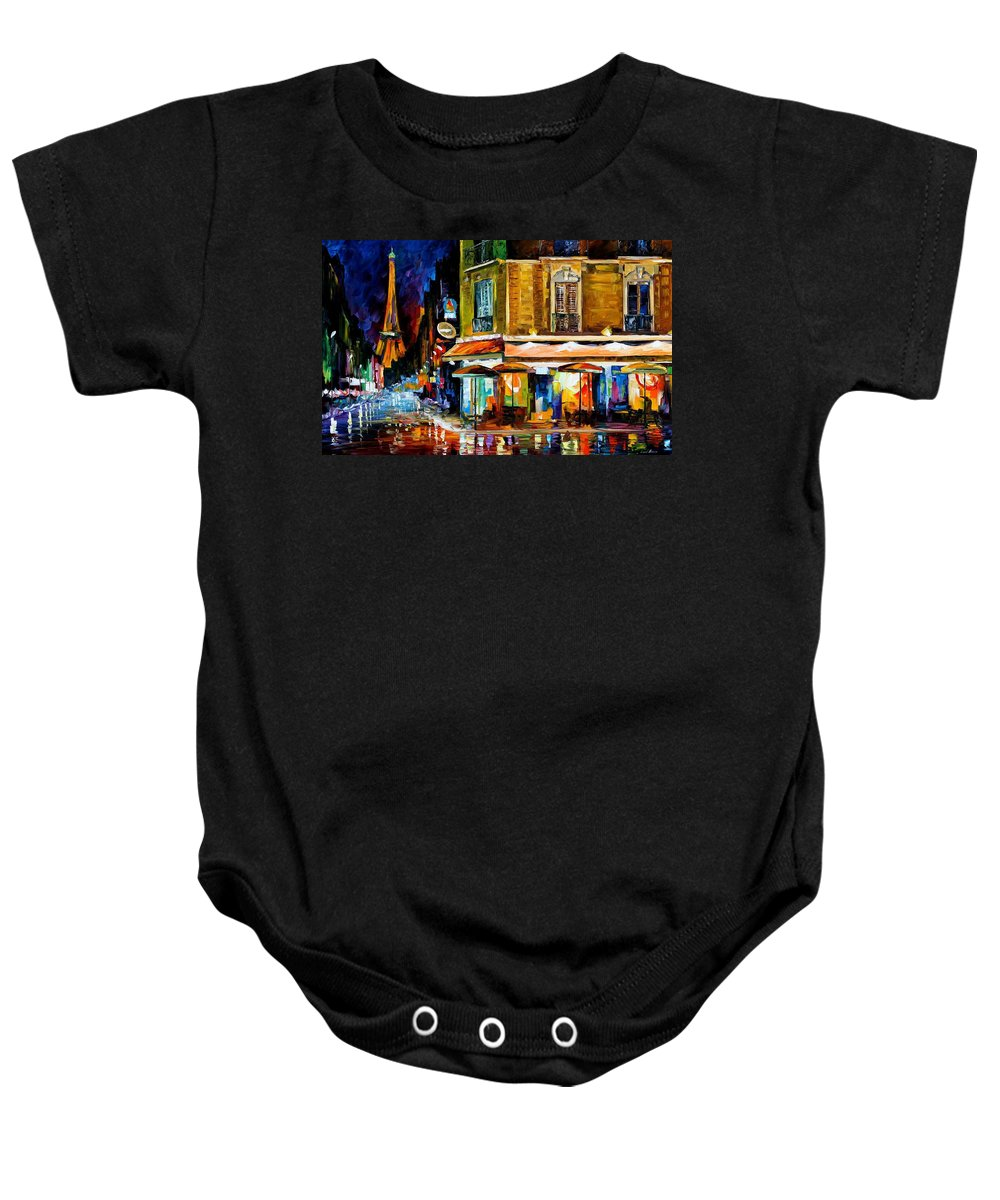 Oil Paintings Baby Onesie featuring the painting Paris-recruitement Cafe - Palette Knife Oil Painting On Canvas By Leonid Afremov by Leonid Afremov