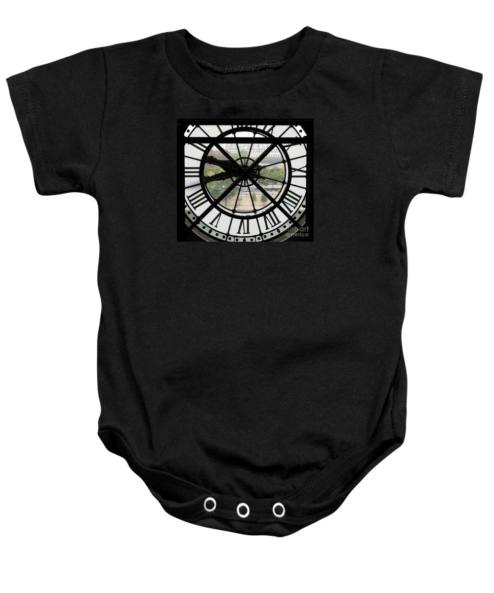 Clock Baby Onesie featuring the photograph Paris Time by Ann Horn