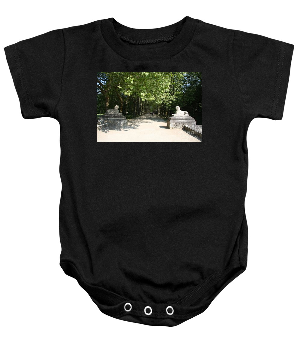 Egyptian Statue Baby Onesie featuring the photograph Parkway Chateau Chenonceaux France by Christiane Schulze Art And Photography