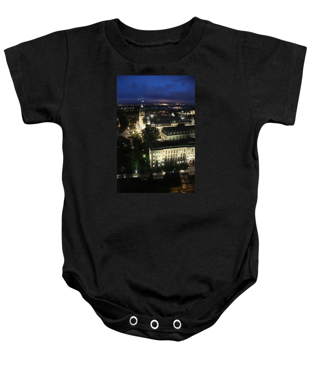 Parlament Baby Onesie featuring the photograph Parlament Quebec At Night by Christiane Schulze Art And Photography