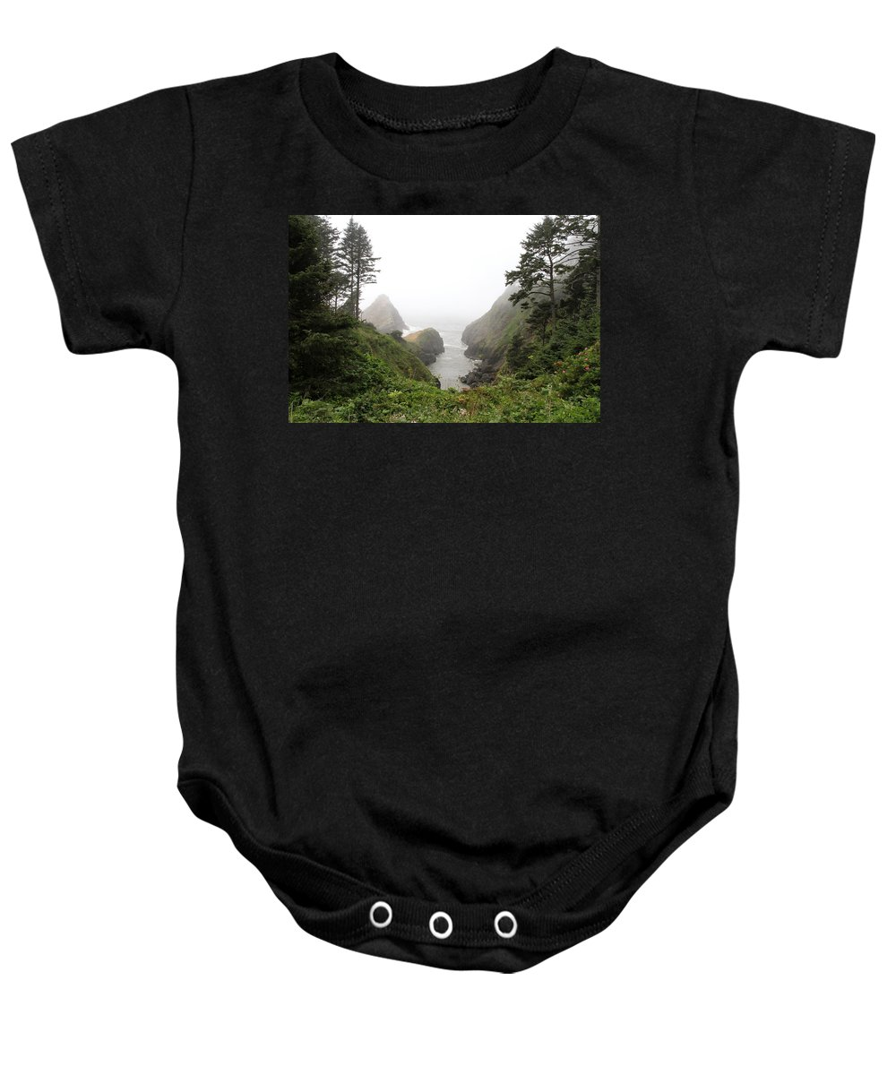 Heceta Head Lighthouse Baby Onesie featuring the photograph Parrot Rock In The Fog by Christiane Schulze Art And Photography