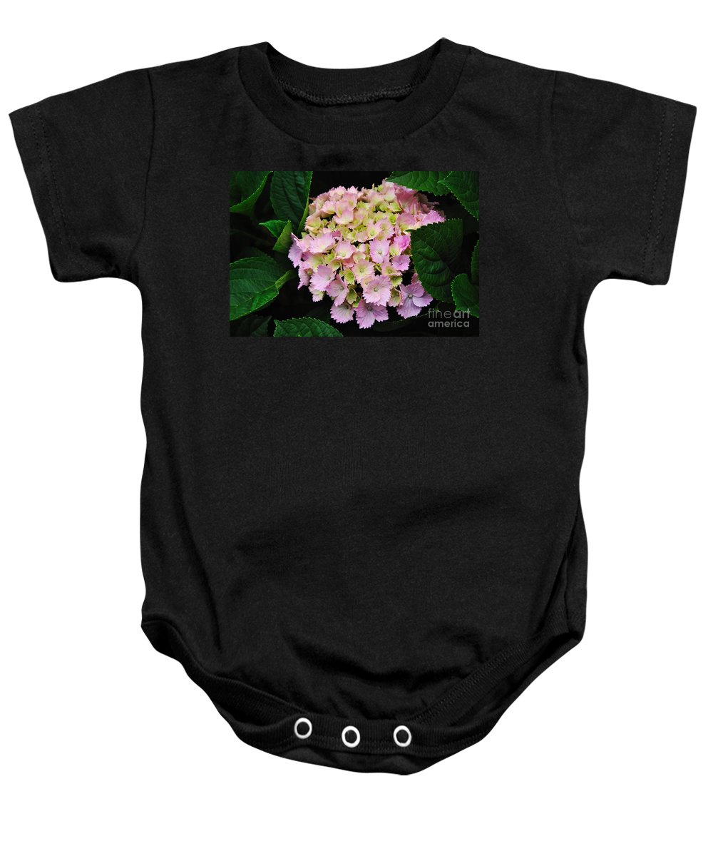 Photography Baby Onesie featuring the photograph Pastel Pink Hydrangea by Kaye Menner