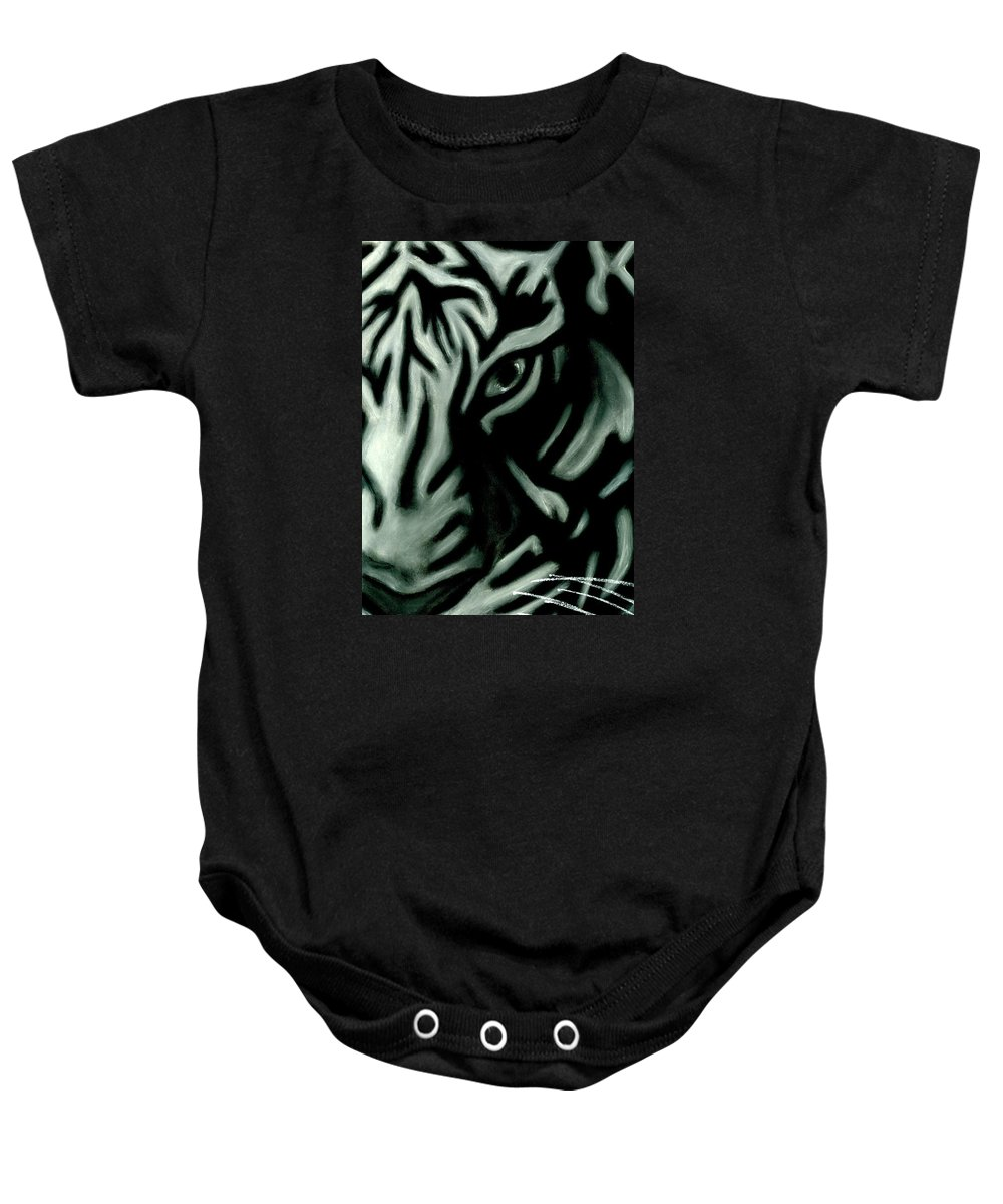 Tiger Baby Onesie featuring the pastel Pastel Tiger by Matthew Howard