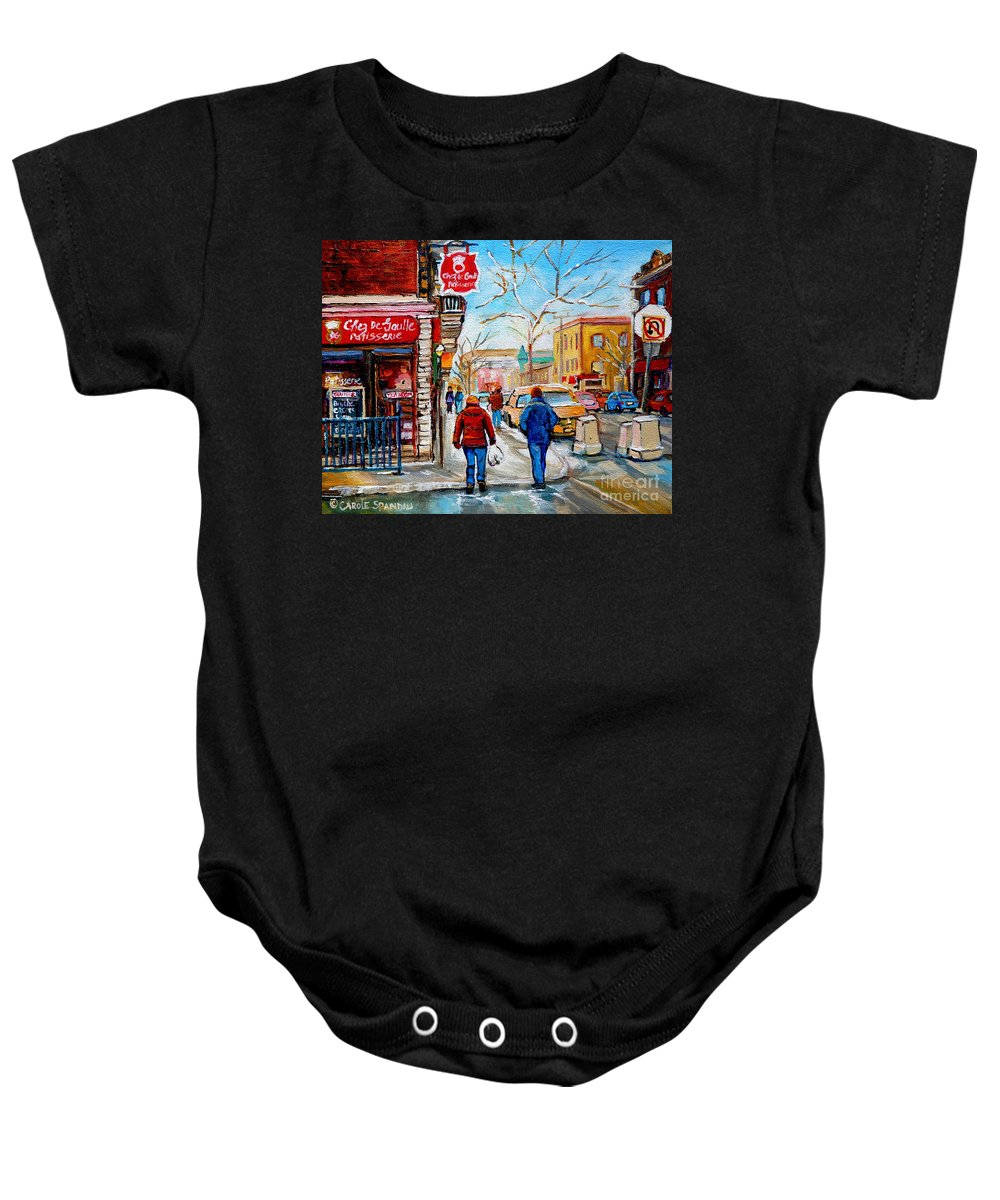 Montreal Baby Onesie featuring the painting Pastry Shop And Tea Room by Carole Spandau