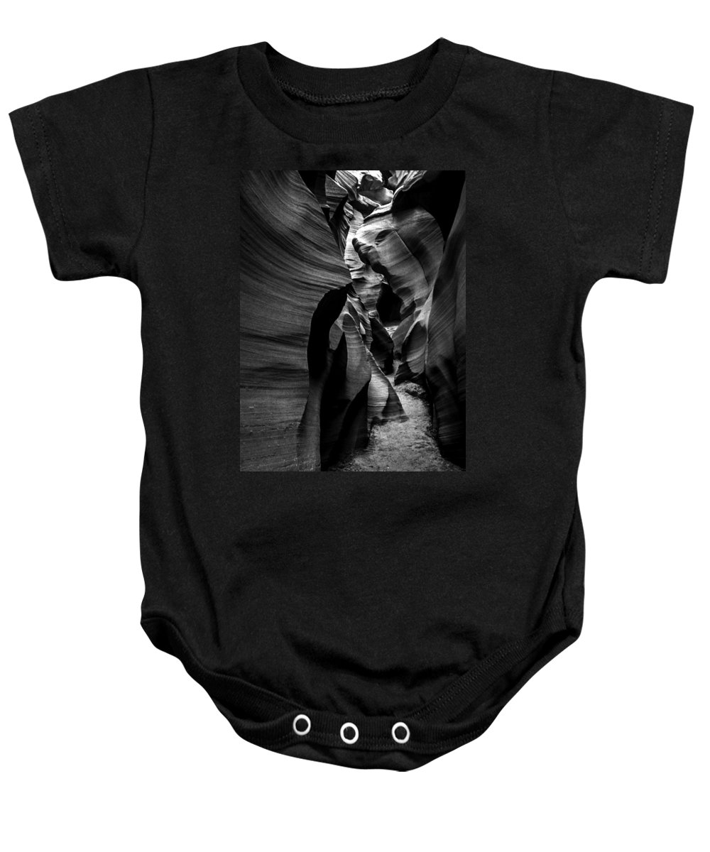 B&w Baby Onesie featuring the mixed media Path To The Underworld by Lovejoy Creations