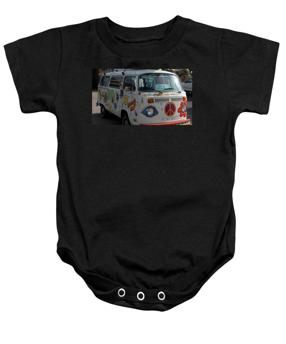 Peace And Love Baby Onesie featuring the photograph Peace And Love Van by Dany Lison