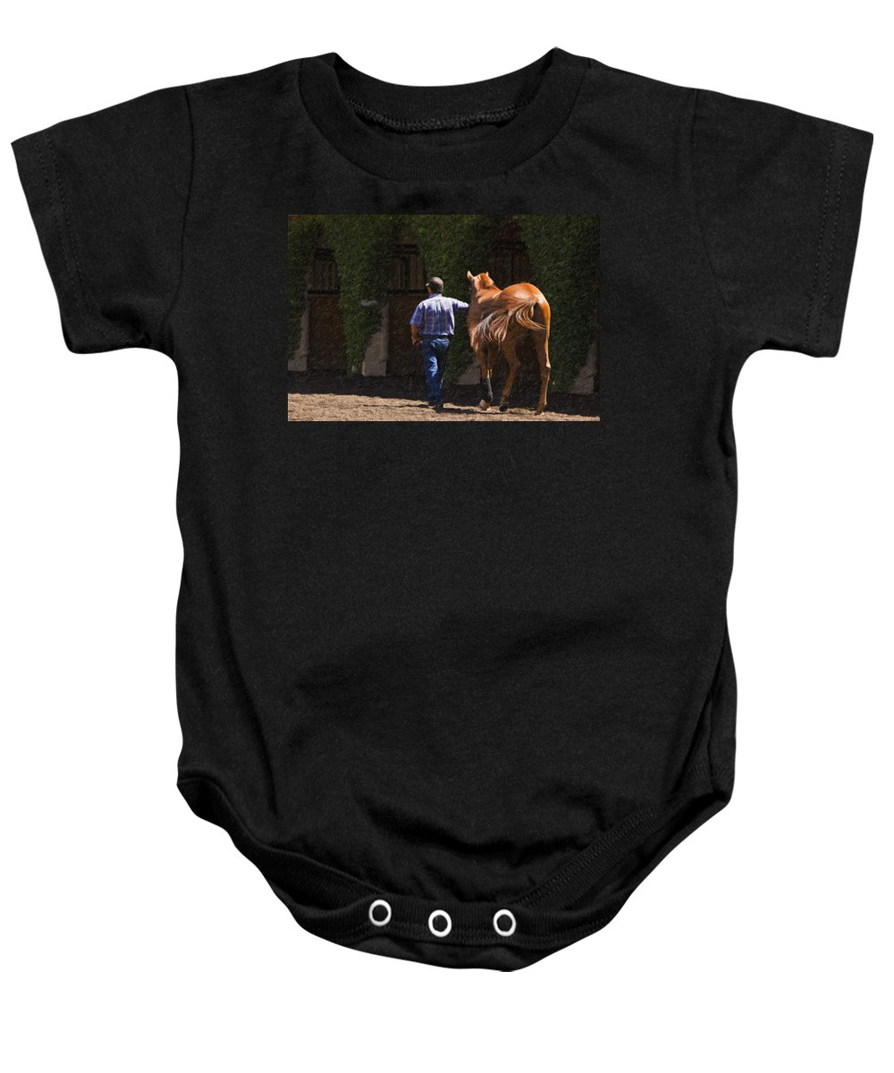 Del Mar Baby Onesie featuring the painting Peace Before The Race - Del Mar Horse Race by Angela Stanton