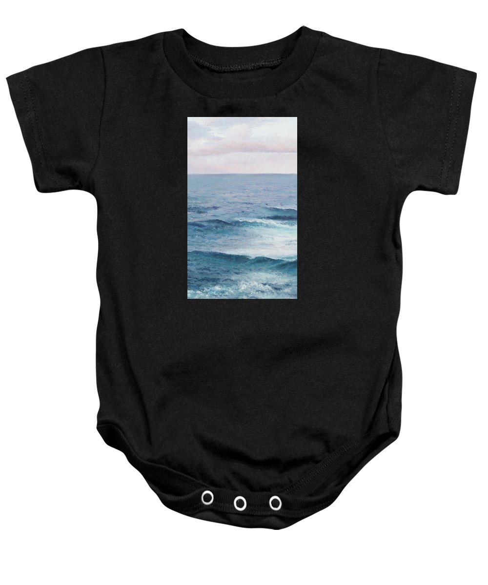 Ocean Baby Onesie featuring the painting Peace by Jan Matson