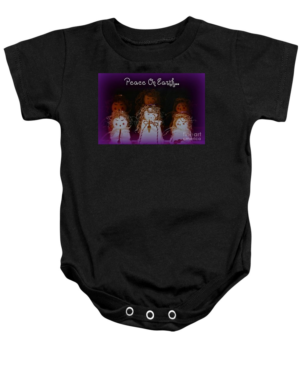 Trio Baby Onesie featuring the photograph Peace On Earth by Linda Bianic