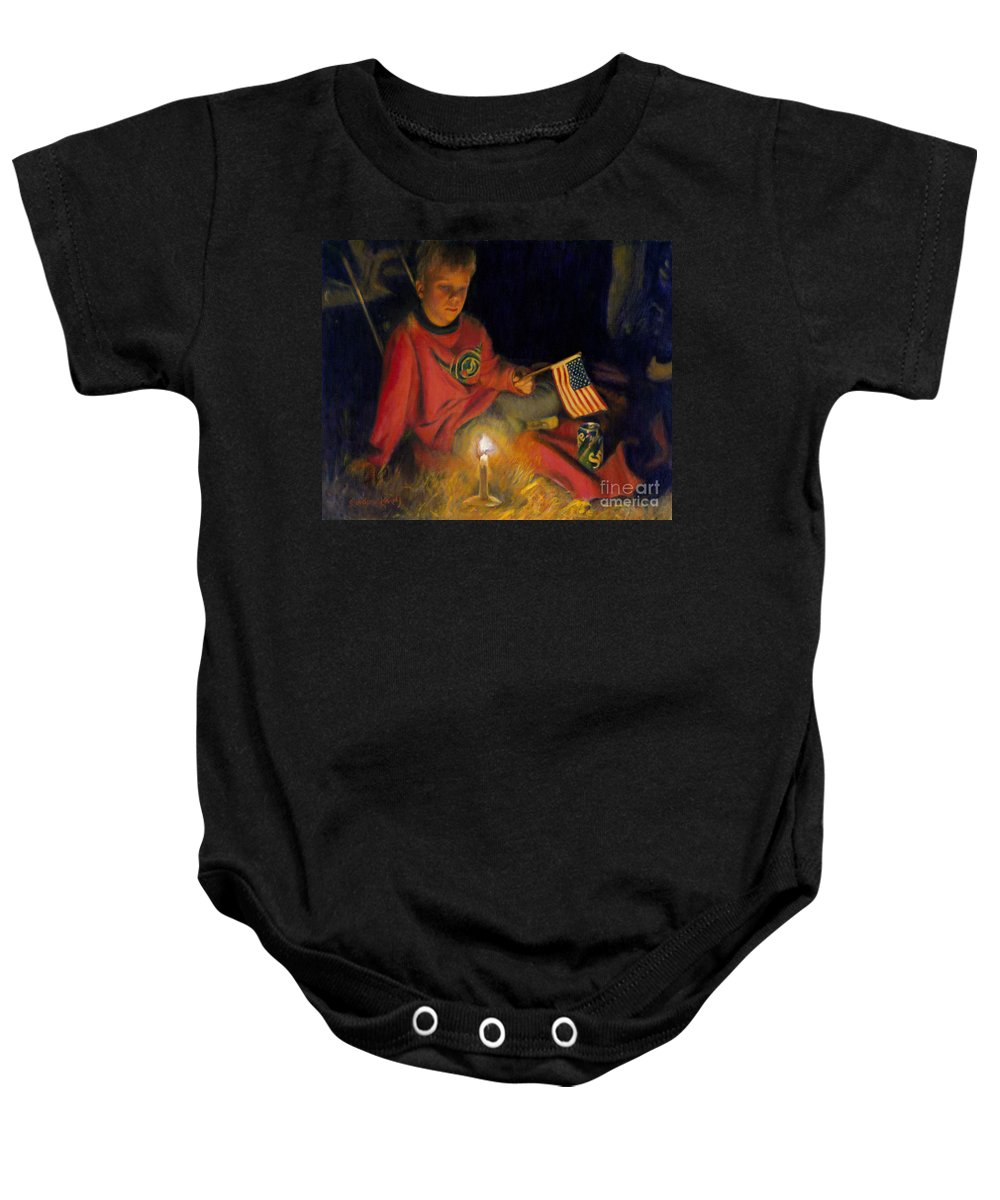 Boy Baby Onesie featuring the painting Peaceable Kingdom by Candace Lovely