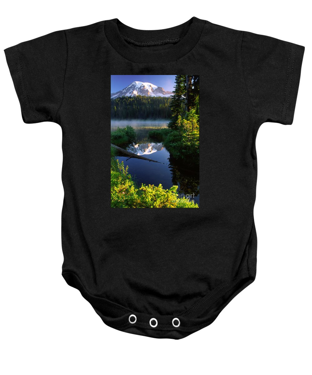America Baby Onesie featuring the photograph Peaceful Reflection by Inge Johnsson