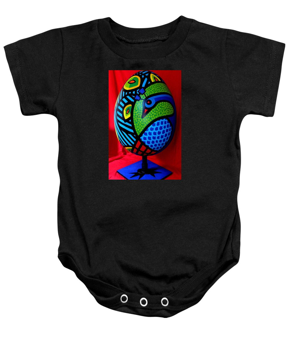 Peacock Baby Onesie featuring the painting Peacock Egg II by John Nolan