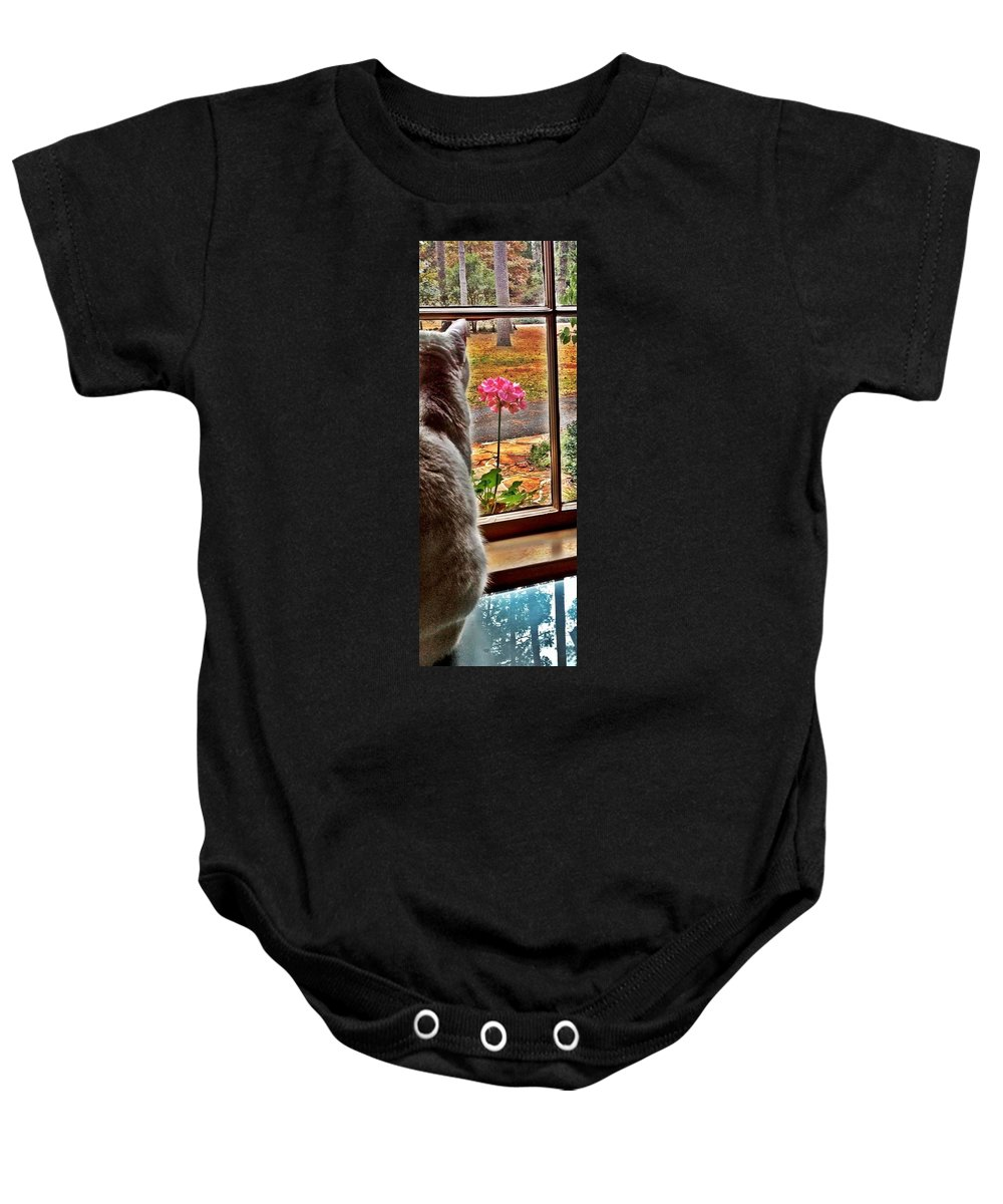 Cat Baby Onesie featuring the photograph Pearl by Michele Monk