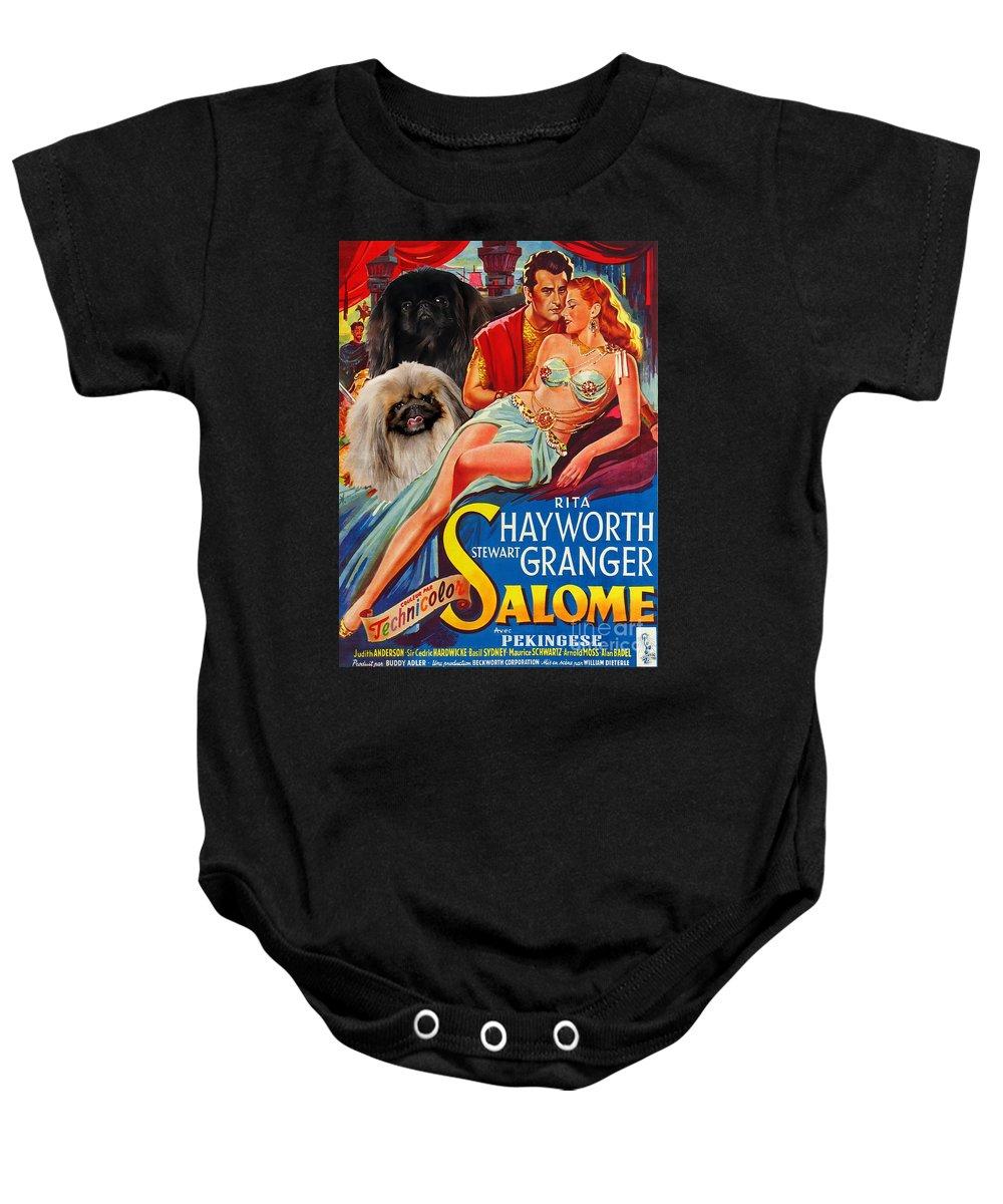 Dog Baby Onesie featuring the painting Pekingese Art - Salome Movie Poster by Sandra Sij