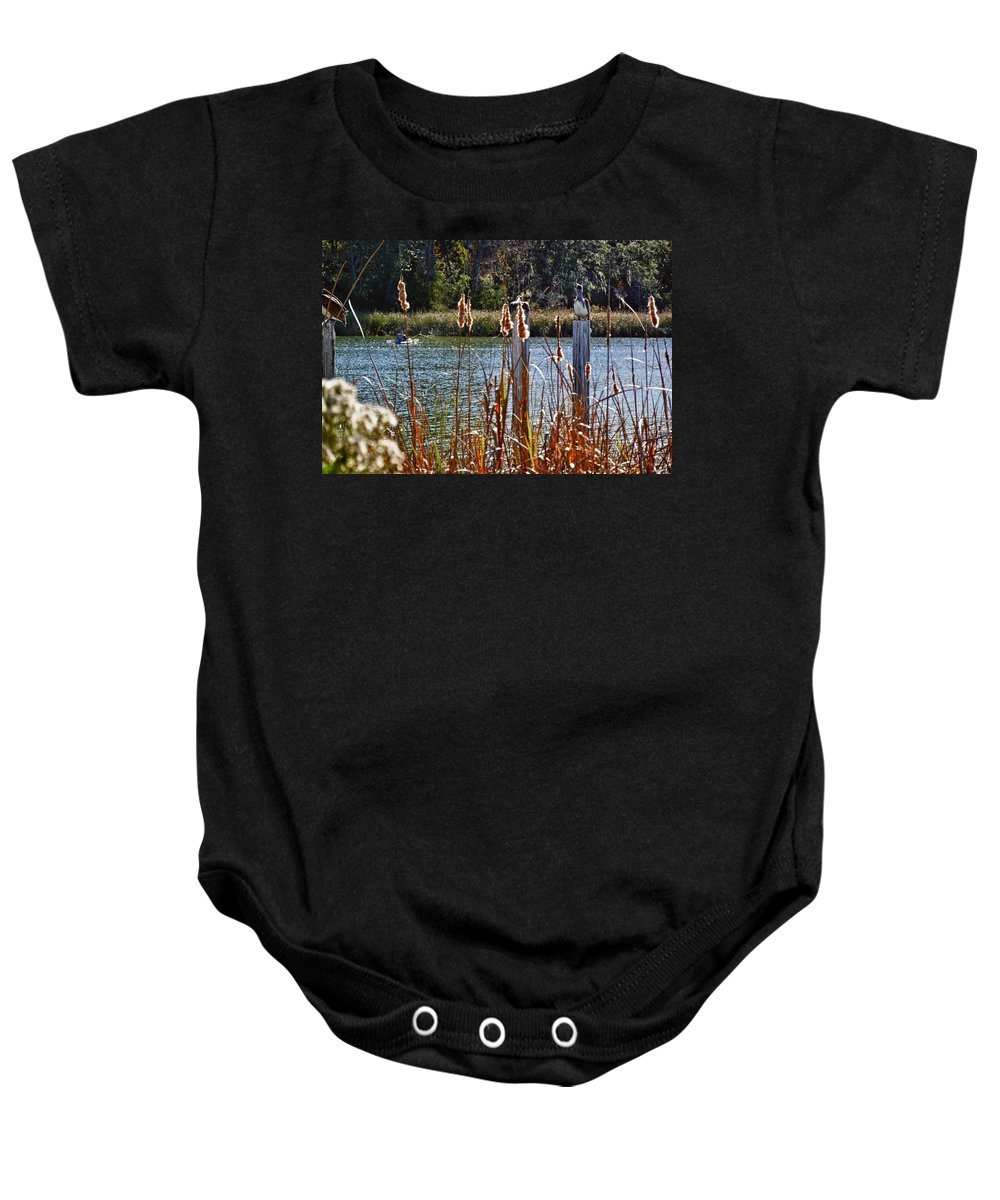 Baby Onesie featuring the digital art Pelican On A Stick by Michael Thomas