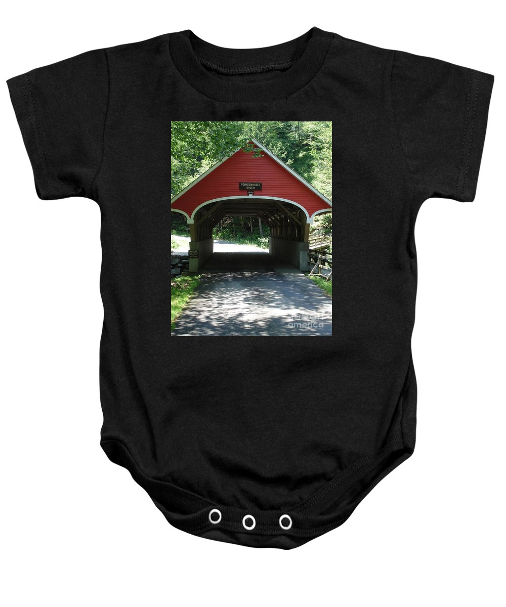 Pemigewasset Baby Onesie featuring the photograph Pemigewasset River Bridge by Kerri Mortenson