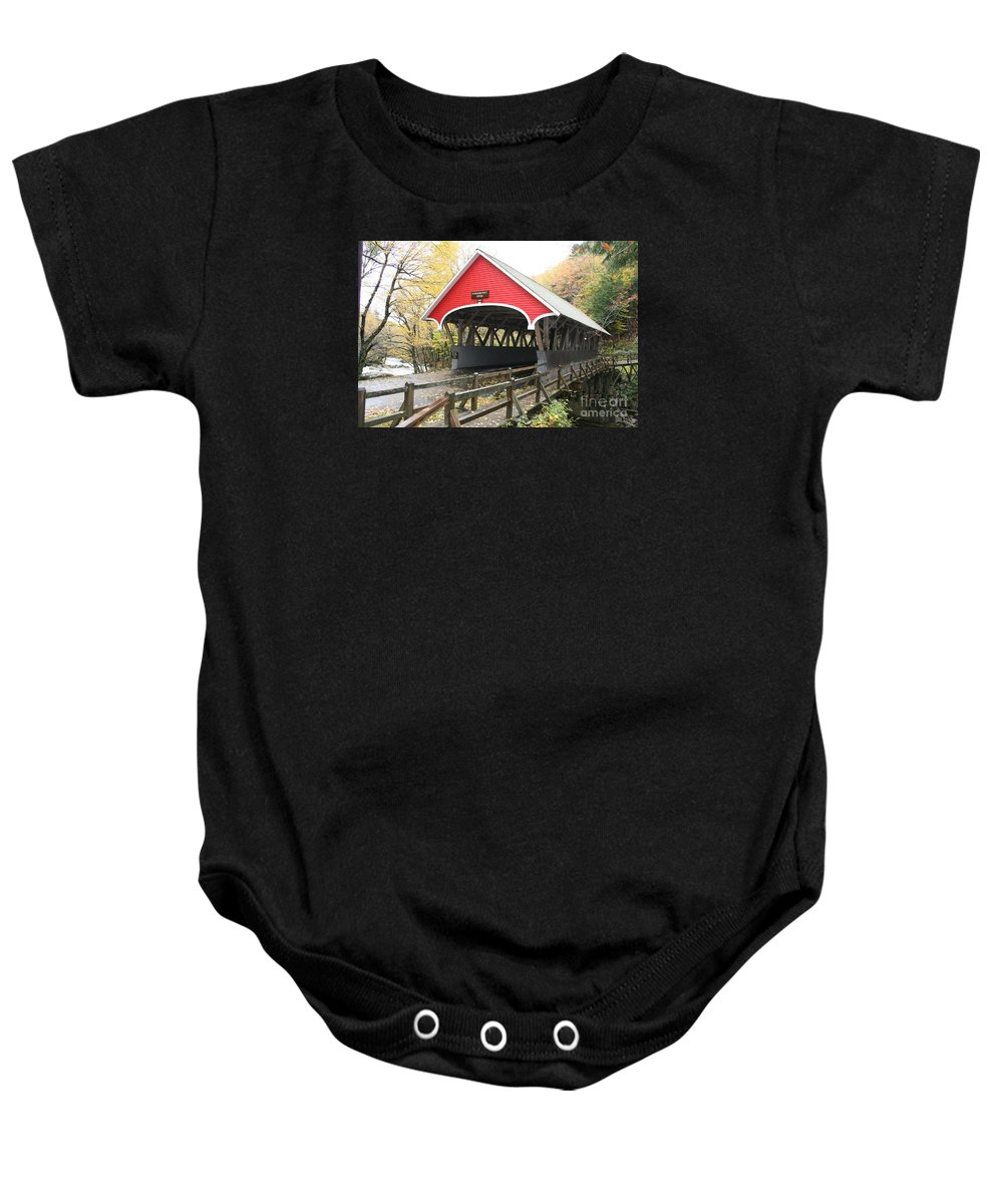 Covered Bridge Baby Onesie featuring the photograph Pemigewasset River Covered Bridge In Fall by Christiane Schulze Art And Photography