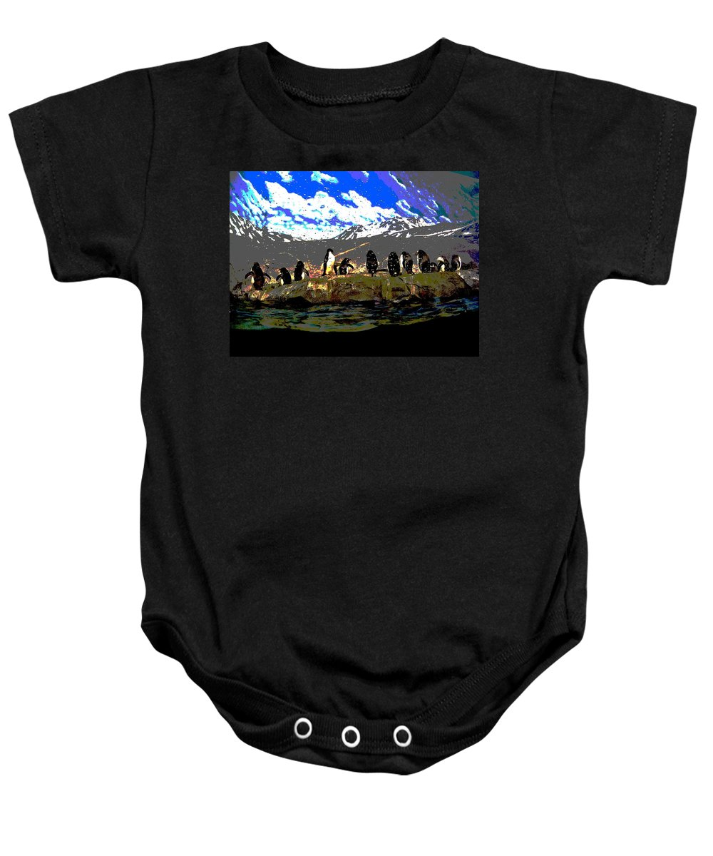 Computer Graphics Baby Onesie featuring the photograph Penguins Line Dance Posterized 2 by Marian Bell