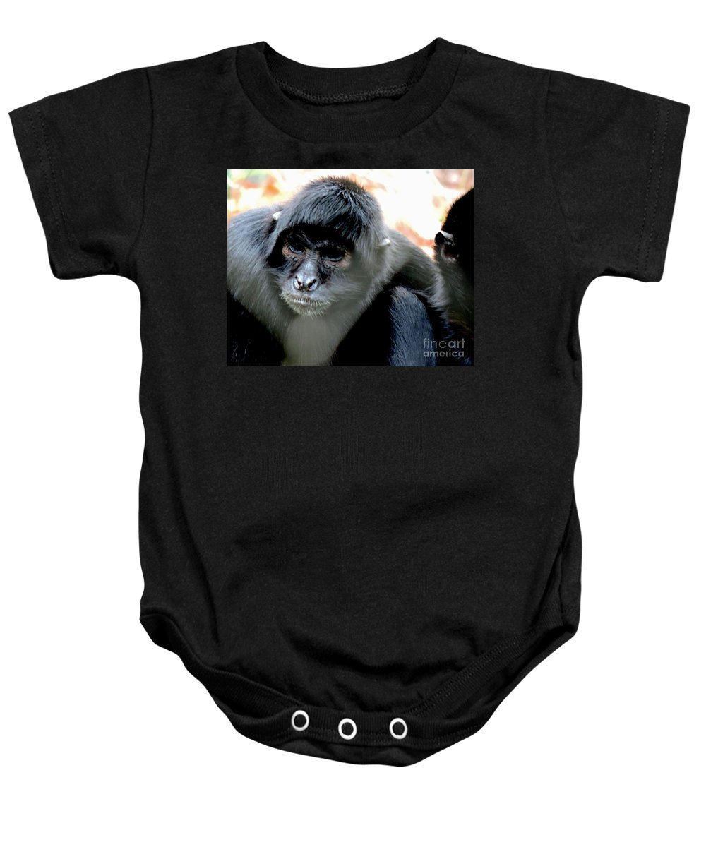 Pensive Baby Onesie featuring the photograph Pensive Monkey by Heather Jane