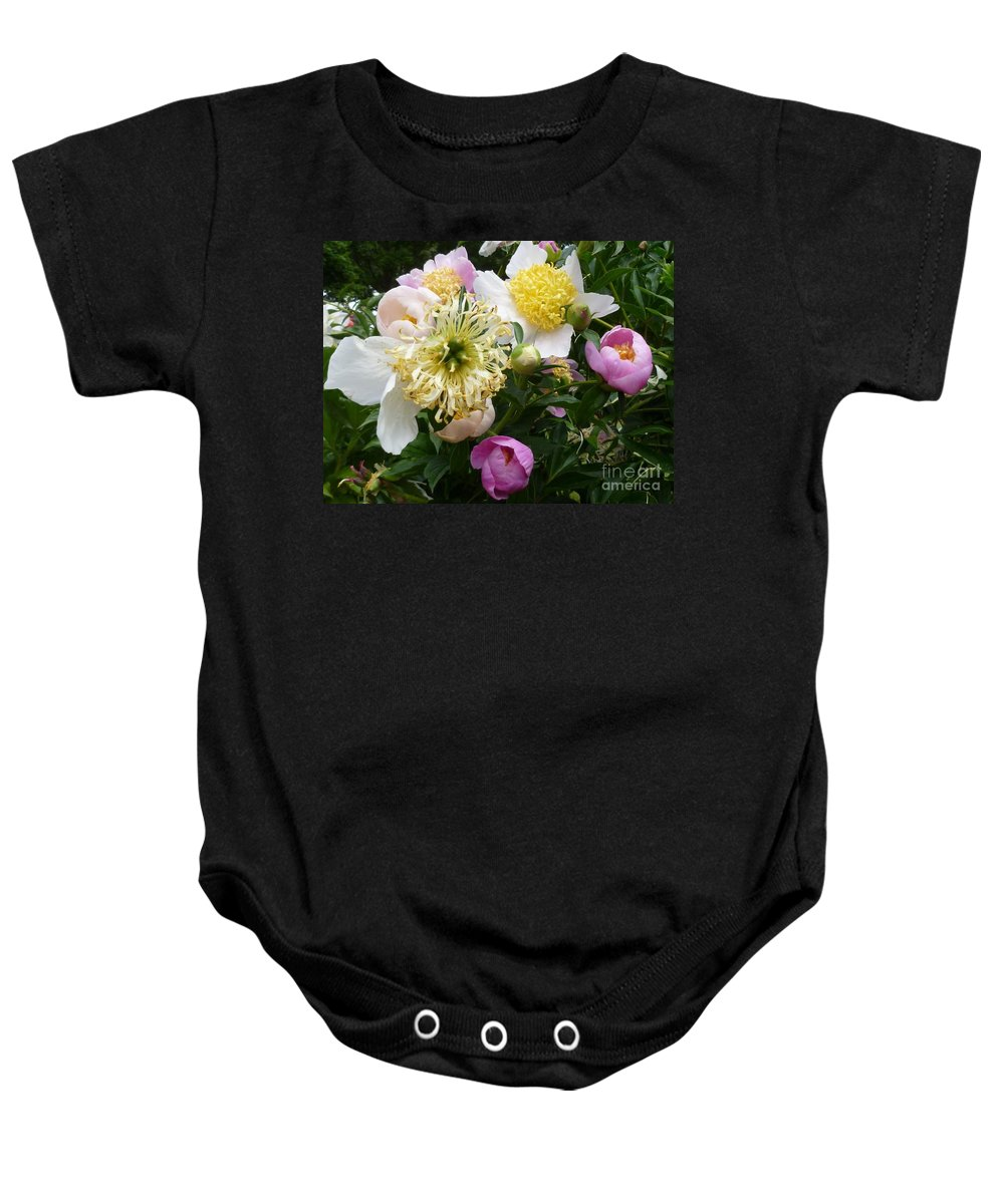 Flower Baby Onesie featuring the photograph Peonies Bouquet by Lingfai Leung