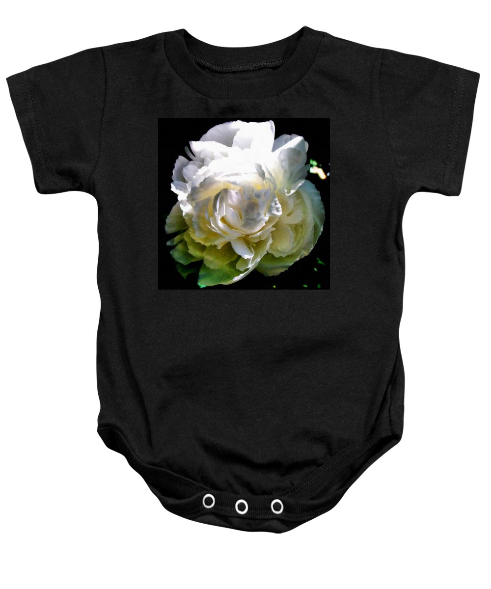 White Peony Baby Onesie featuring the photograph Peony In Morning Sun by Michelle Calkins