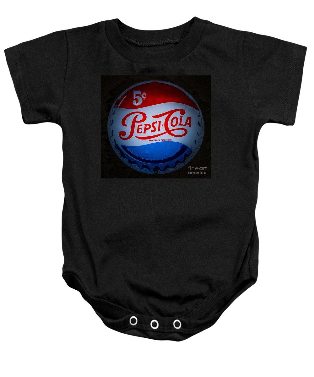 Pepsi Cap Sign Baby Onesie featuring the photograph Pepsi Cap Sign by Mitch Shindelbower