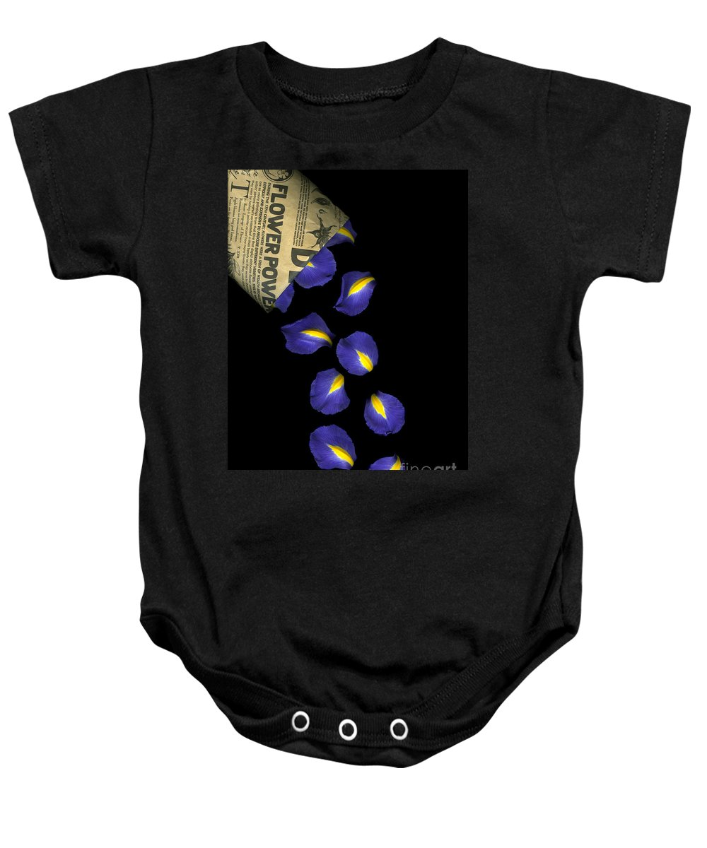 Scanography Baby Onesie featuring the photograph Petal Chips by Christian Slanec