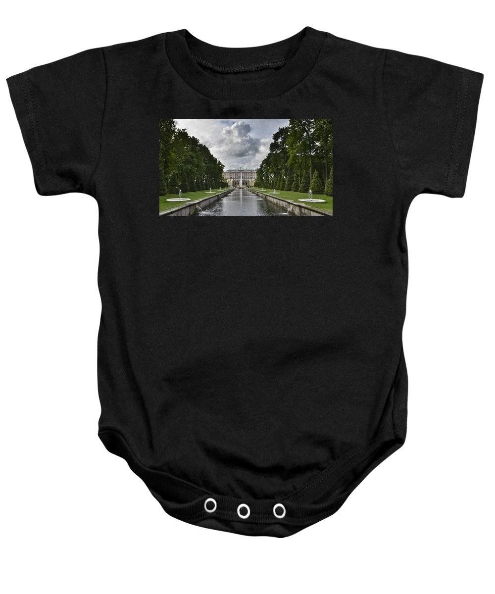 Fountain Baby Onesie featuring the photograph Peterhof Fountains by David Berg