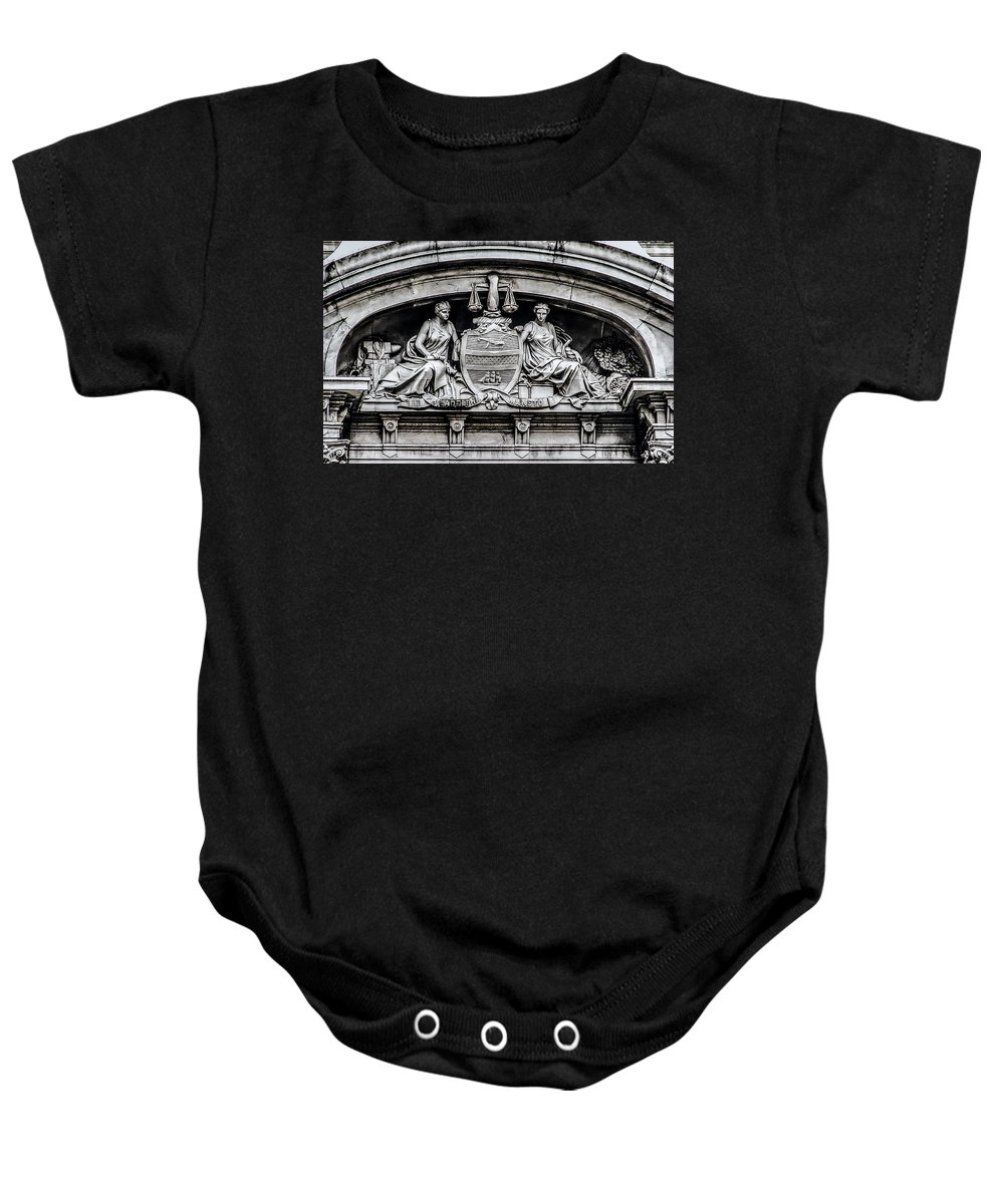 Philadelphia Baby Onesie featuring the photograph Philadelphia City Hall - City Seal by Bill Cannon