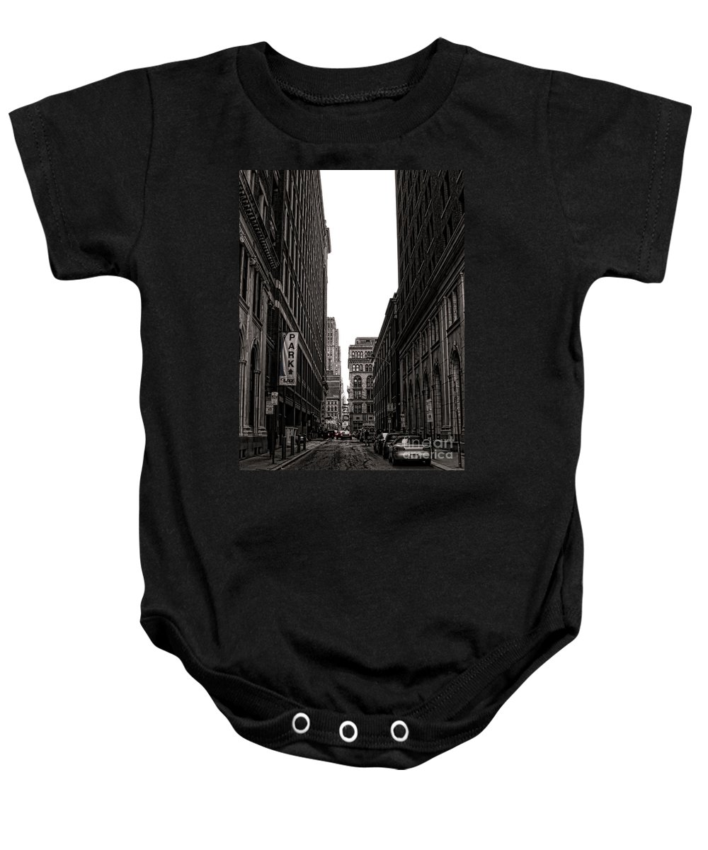 Philadelphia Baby Onesie featuring the photograph Philly Street by Olivier Le Queinec