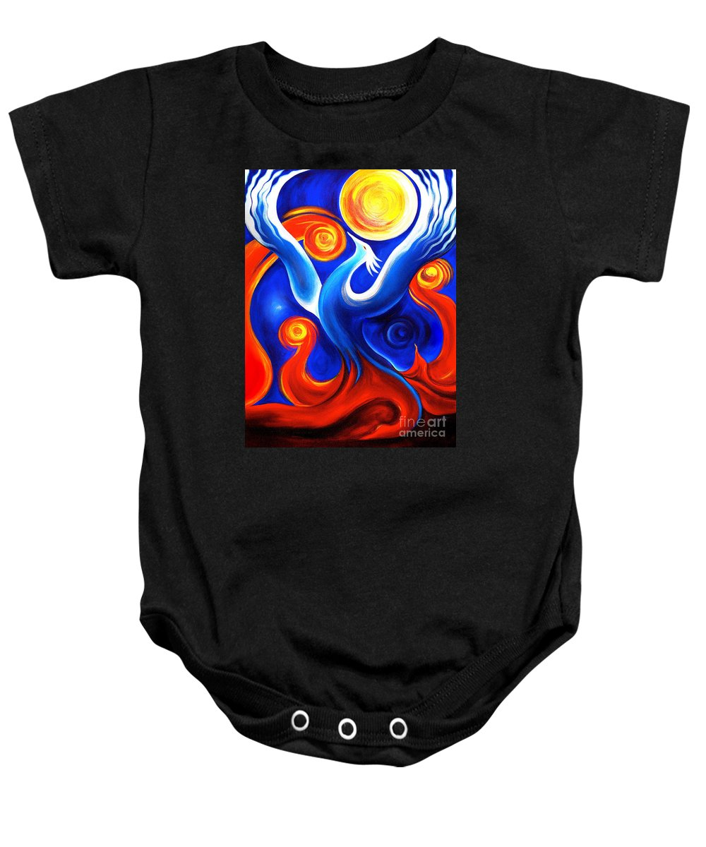 Phoenix Baby Onesie featuring the painting Phoenix Rising by Gem S Visionary