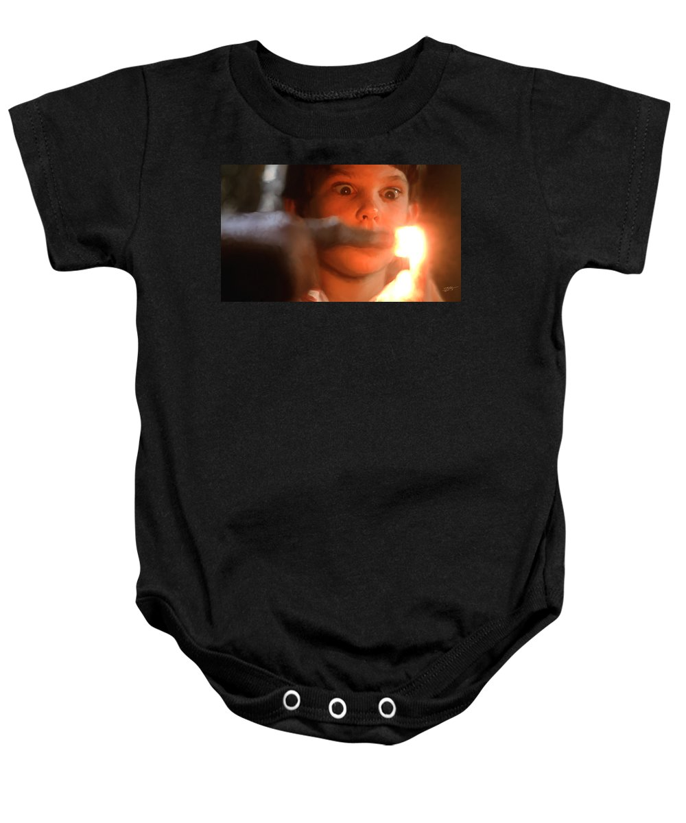 E.t. Baby Onesie featuring the painting Phone Home by Paul Tagliamonte