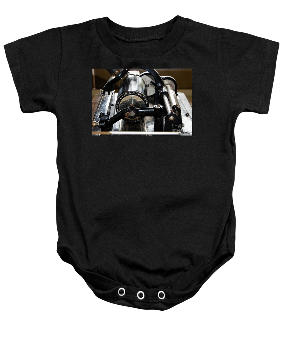 Phonograph Baby Onesie featuring the photograph Phonograph Recording Cylinder by Grace Grogan