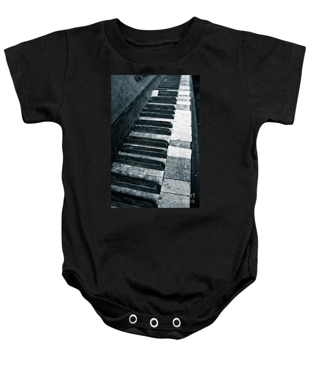Piano Baby Onesie featuring the photograph Piano Keys by Brothers Beerens