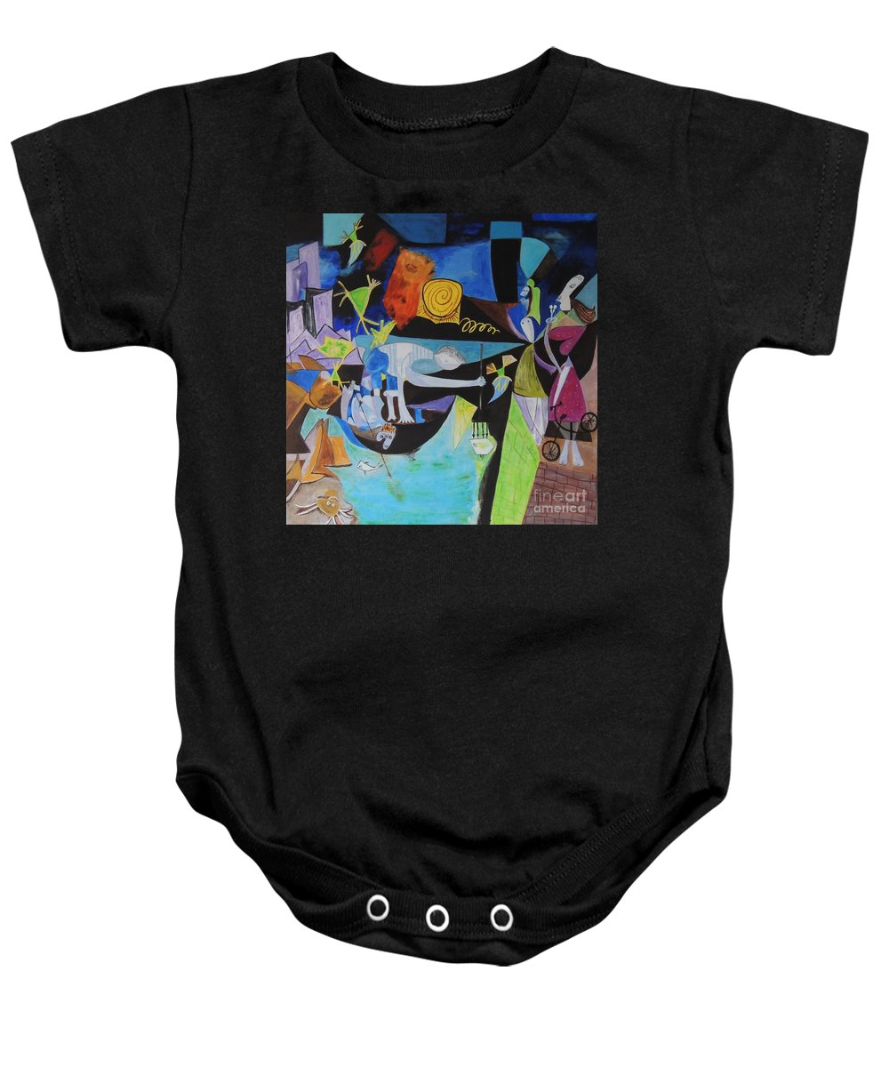 Picasso Baby Onesie featuring the painting Picasso  Night Fishing At Antibes by Shahid Zuberi