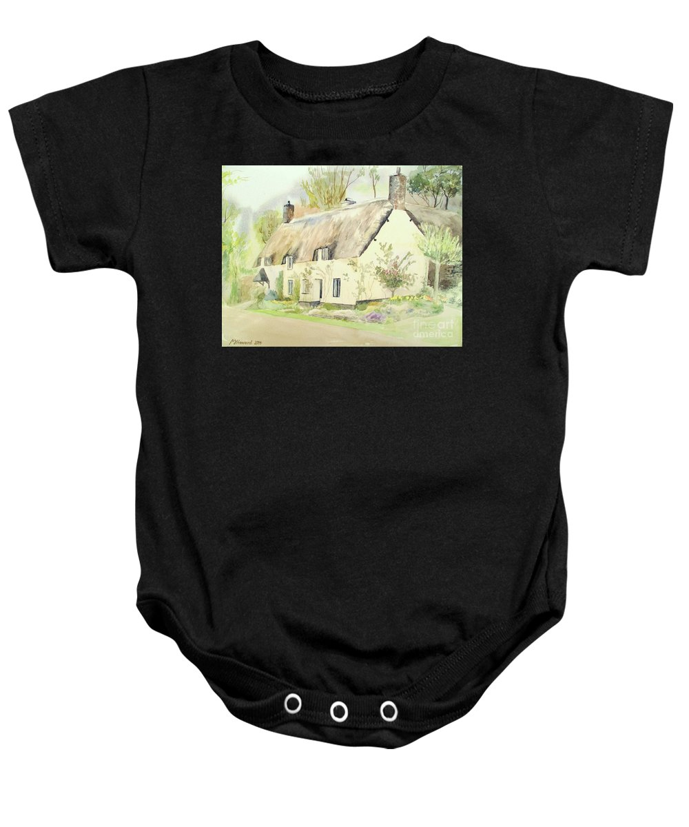 Dunster Baby Onesie featuring the painting Picturesque Dunster Cottage by Martin Howard