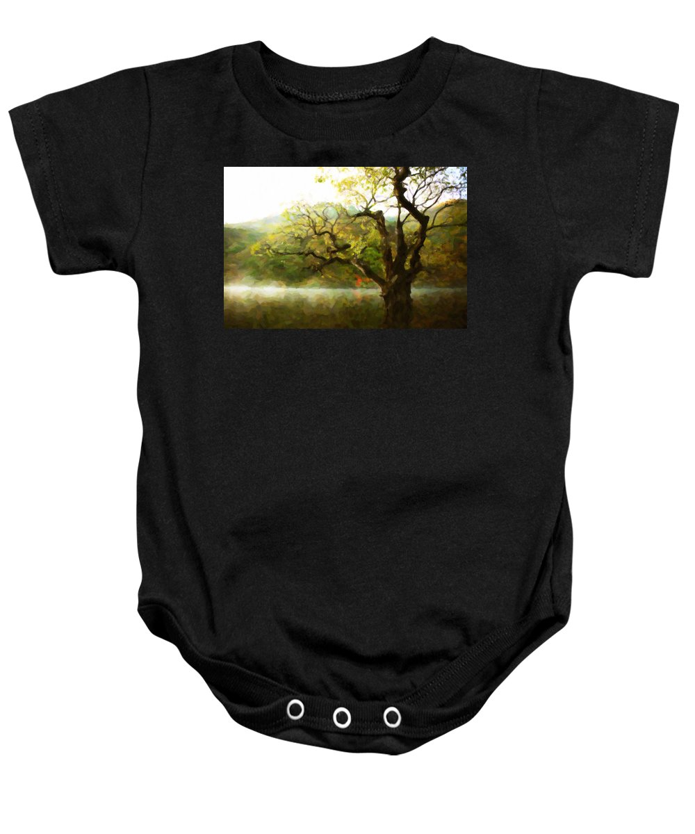 Picturesque Foggy Lake Baby Onesie featuring the painting Picturesque Foggy Lake by Jeelan Clark