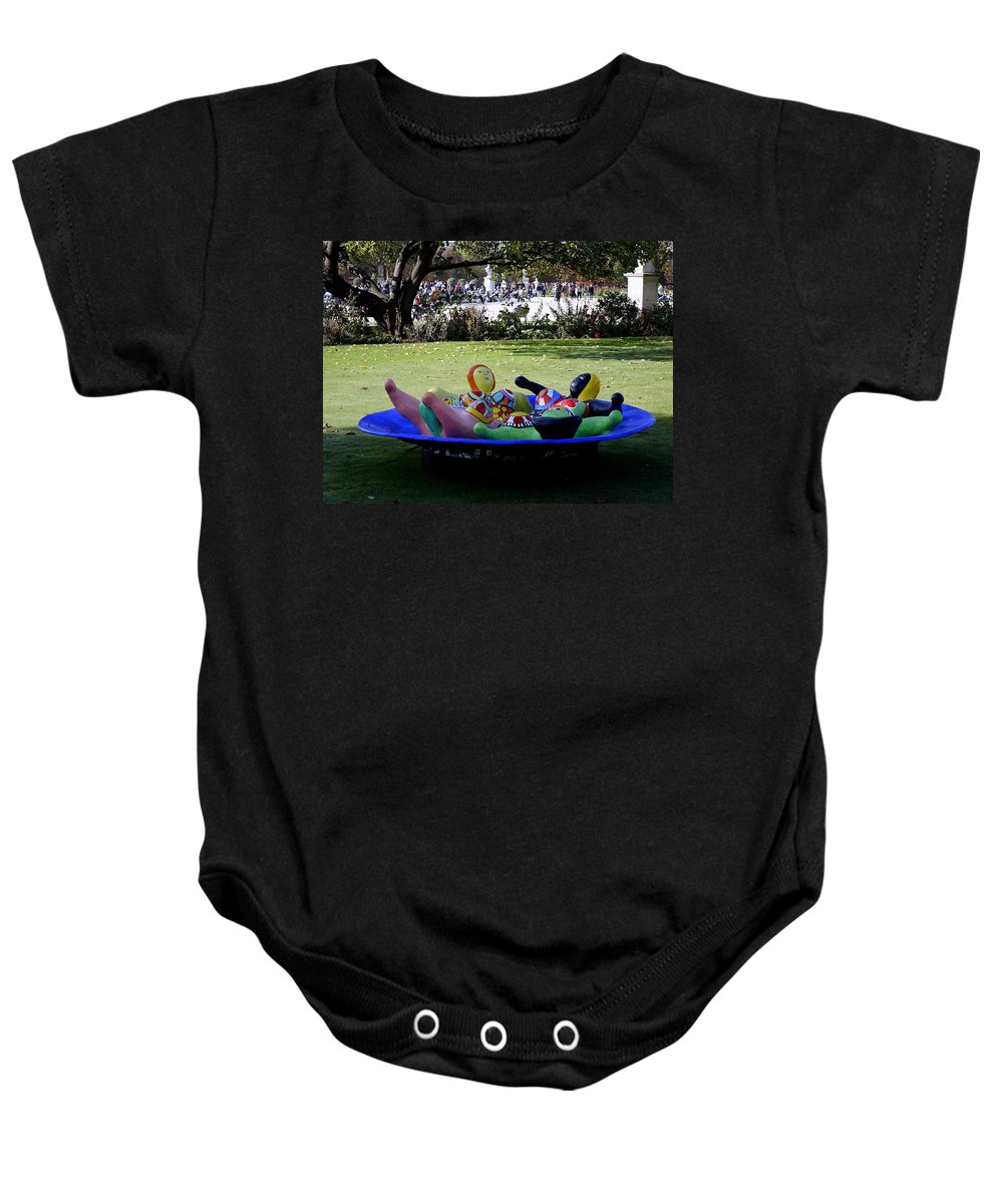 Paris Baby Onesie featuring the photograph Piece Of Art Near The Musee Du Louvre In Paris France by Richard Rosenshein