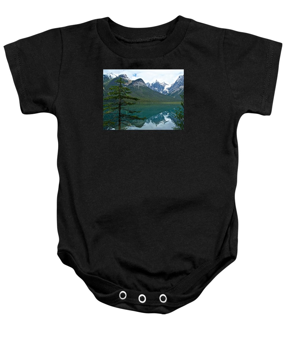 Pine Over Emerald Lake Reflection From Emerald Lake Trail In Yoho Np Baby Onesie featuring the photograph Pine Over Emerald Lake Reflection In Yoho National Park-british Columbia-canada by Ruth Hager