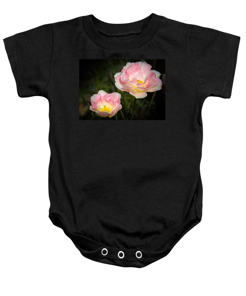 Art Gallery Baby Onesie featuring the photograph Pink And White Flowers by Mark Llewellyn