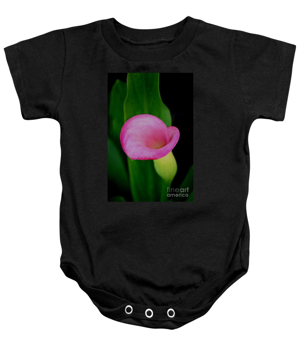 Calla Lily Baby Onesie featuring the photograph Pink Calla Lily by Brook Steed