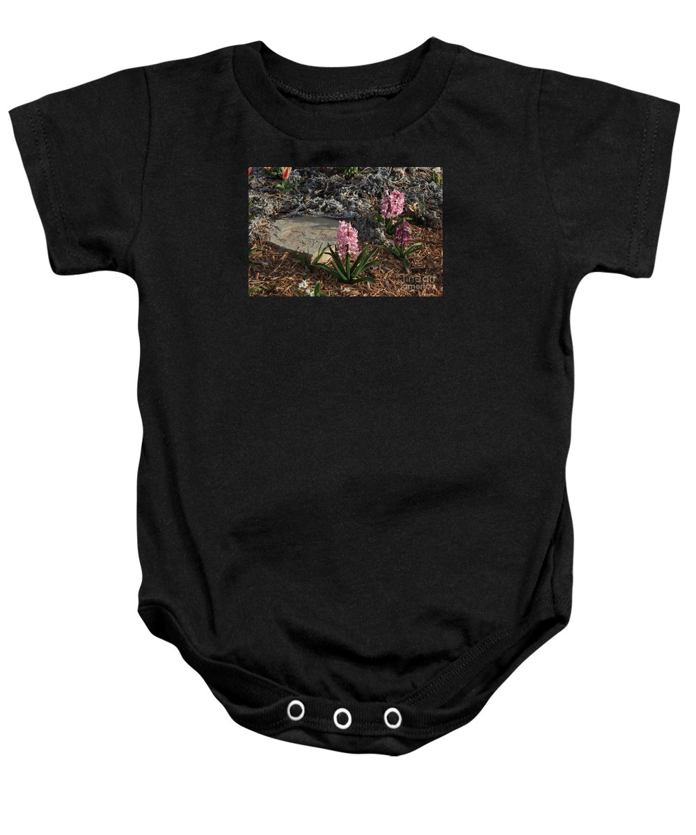 Flower Baby Onesie featuring the photograph Pink Flower's With A Lime Stone Rock by Robert D Brozek