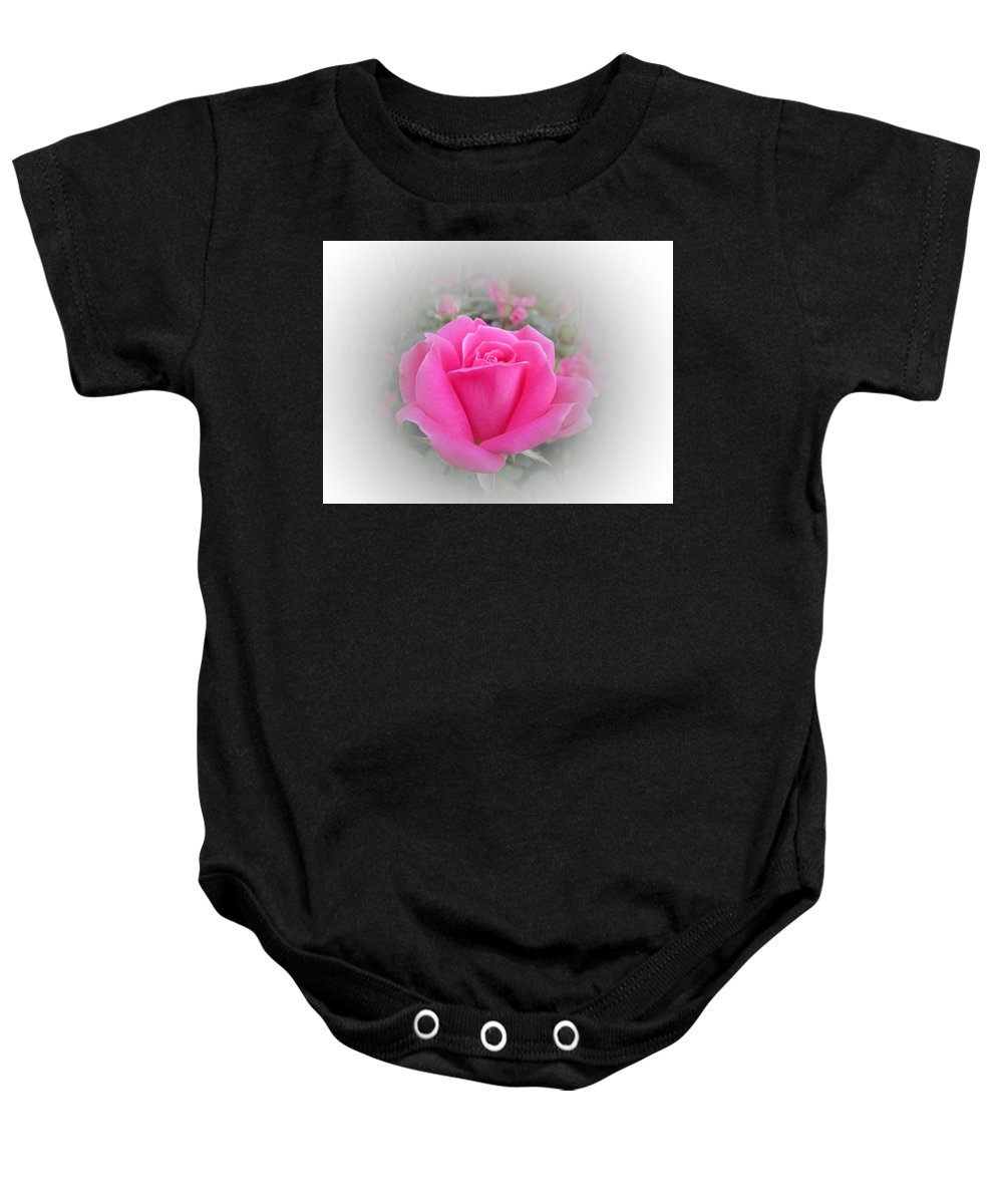 Pink Double Knockout Rose Baby Onesie featuring the photograph Pink Knockout Beauty by MTBobbins Photography