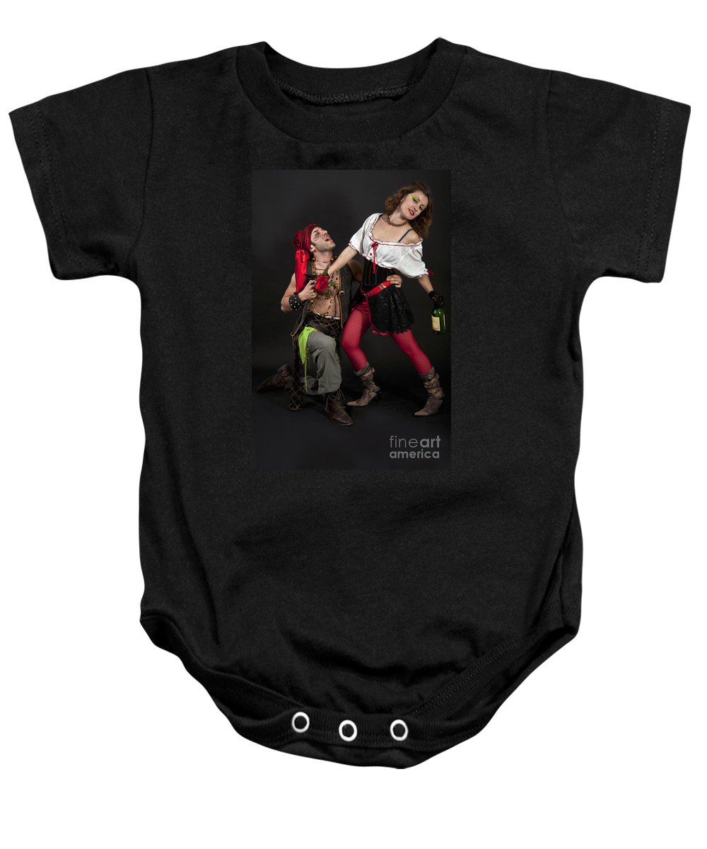 Fun Baby Onesie featuring the photograph Pirate Couple 1 by Ilan Amihai