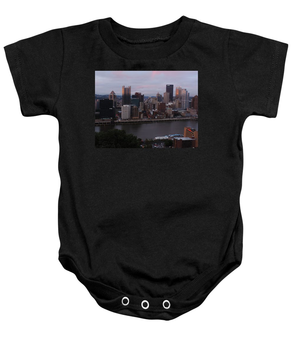 City Baby Onesie featuring the photograph Pittsburgh Aerial Skyline At Sunset 3 by Cityscape Photography